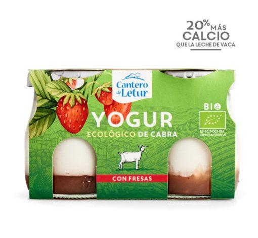 Yogur de cabra con fresas ecológico. Cantero de Letur